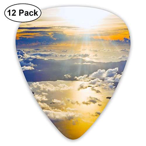 Gitaar Pick Zonsondergang Van Een Vliegtuig Behang 12 Stuk Gitaar Paddle Set Gemaakt Van Milieubescherming ABS Materiaal, Geschikt voor Gitaren, Quads, Etc