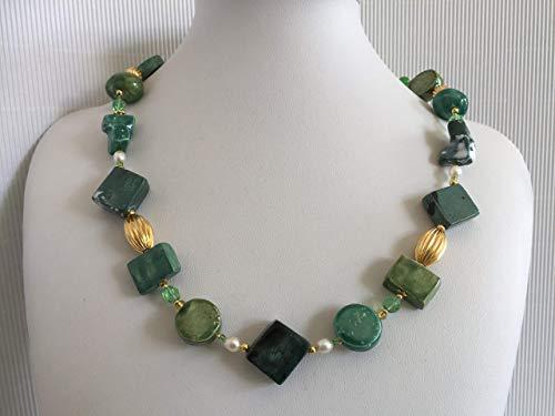 Girocollo verde Donna in ceramica lavorata a mano'Cactus'