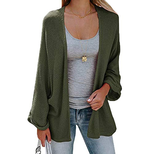 Bat Sleeve Casual Cardigan Women Sweaters Fashion Autumn New Woman Loose Coat Knitted Long Army Green S