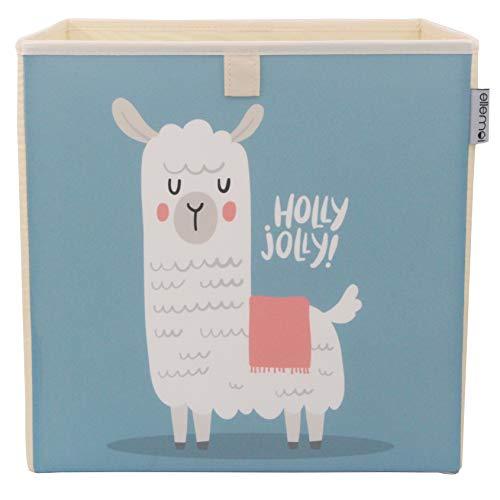 Kinder Aufbewahrungsbox von ELLEMOI Faltbare Spielzeug Box (33x33x33) zur Aufbewahrung im Kallax Regal (Blaues Alpaka)