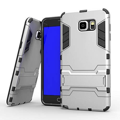 COOVY® Cover für Samsung Galaxy Note 5 SM-N920 / SM-920F Bumper Case, Doppelschicht aus Plastik + TPU-Silikon, extra stark, Anti-Shock, Standfunktion | Farbe Silber