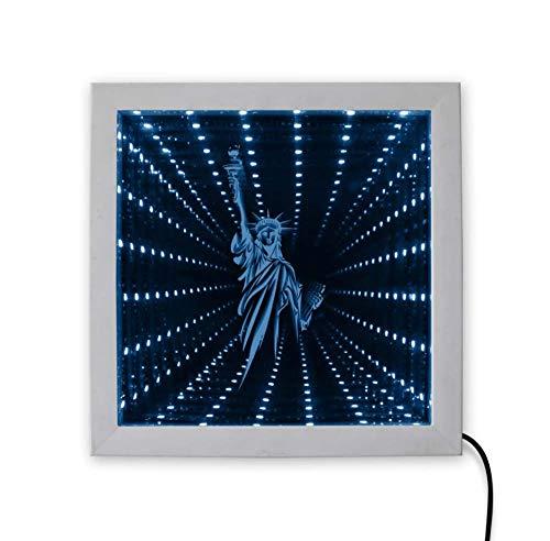 Wangzhuoyue Estatua Clásica De La Libertad Ilusión Óptica 3D Marco De Espejo Infinito Valores Led Luz De Humor Túnel Visión Espejo Infinito