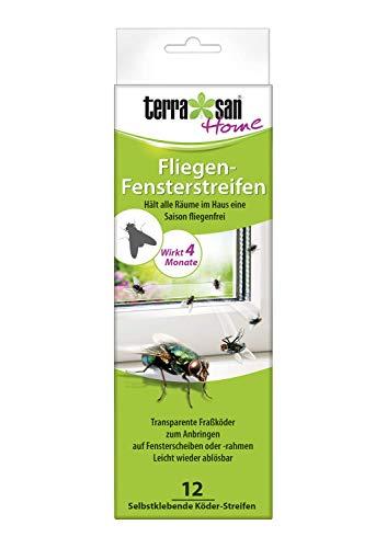 Terrasan Home Fliegenköder-Strips, 12 Köder Streifen, Für Fensterscheiben, Leicht ablösbar, 4 Monate Wirkung