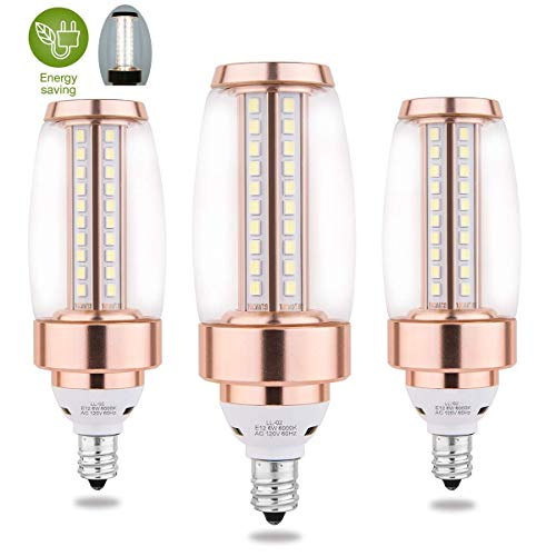 E12 Candelabra LED Daylight White Bulbs, 6W Brightest 6000K 60W Equivalent LED Chandelier Bulbs, Candle Base Type Non-Dimmable Decorative Light Bulb for Ceiling Fan, Home Depot, Pack of 3