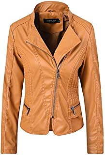 Yshaobinggva Ladies Fashion Leather Jacket Slim Short Jacket Motorcycle Leather Jacket Lapel Retro Leather Jacket (Color : Yellow, Size : S)