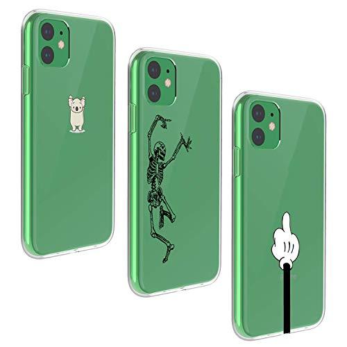Suhctup [3 Pack Custodia per iPhone 12 6.1', Silicone TPU Morbido Ultra Sottile Carino Protettivo Cover, Trasparente Ultra Thin Soft Gel Cute Cartoon Protettiva Case