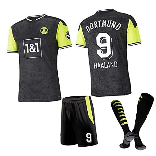 Mijiang Trajes De Uniforme De Fútbol, Haaland 9 Sancho 7 Traje Moukoko 18, Camiseta De Fútbol Negra De Edición Especial + Shorts + Calcetines Chándales De Fútbol,A,XXL/XX~Large