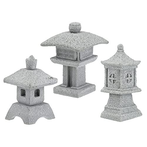 DOITOOL 3 Piezas Estatua Pagoda China Miniatura Ornamentos Escultura de Piedra Arenisca Decoración Asiática para Maceta Hogar Jardín Jardín Exterior Coche Micro Paisaje Decoración