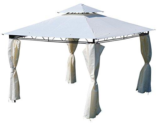 ASS Eleganter Garten - Pavillon 3x3 Meter, Dach 100{24e1e7c31e0249c2a11bd7791d1518e010b6941480182898137cf1b498df07d1} WASSERDICHT UV30+, 9m², mit 4 Vorhängen quadratisch Modell: 7075-3x3 von