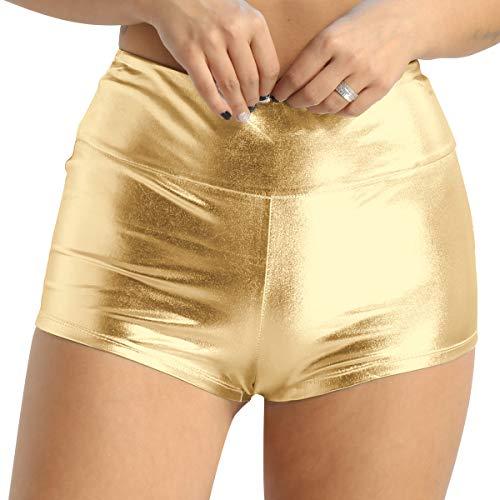Agoky Damen Shorts Metallic Hot Pants Leder-Optik hoch taillierte Bikini Minishorts Sport Fitness Tanz Badehose Glänzend Booty Panty Gold M