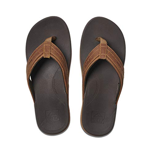 Reef Men's Sandals Leather Ortho-Spring | Arch Support Flip Flops for Men BROWN 12 M US