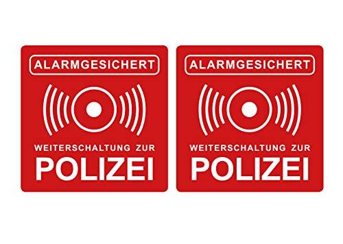 Aufkleber Alarmanlage Weiterschaltung zur Polizei Hinweis Rot Alarmgesichert 5 x 5 cm Witterungs- und UV-Beständig (2)