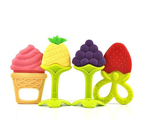 Anneau de Dentition, Jouet de Dentition Bébé - Silicone Naturel Sans BPA Ensemble de Anneaux de Fruits pour les Tout-petits et les Nourrissons (4 pièces)