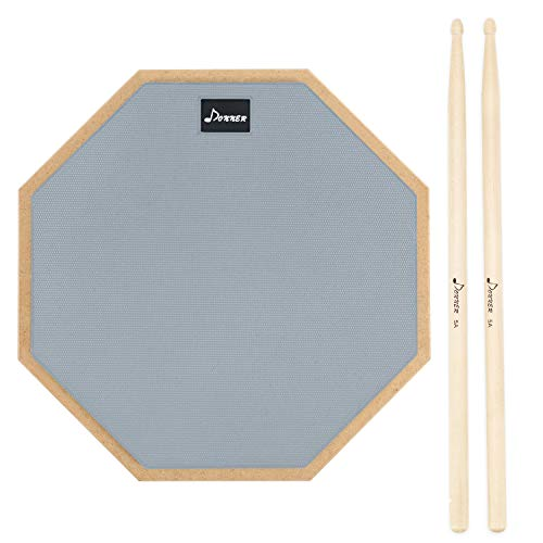 Donner Pad per Allenamento da 12 inch Drum Pad pratica con bacchette in acero