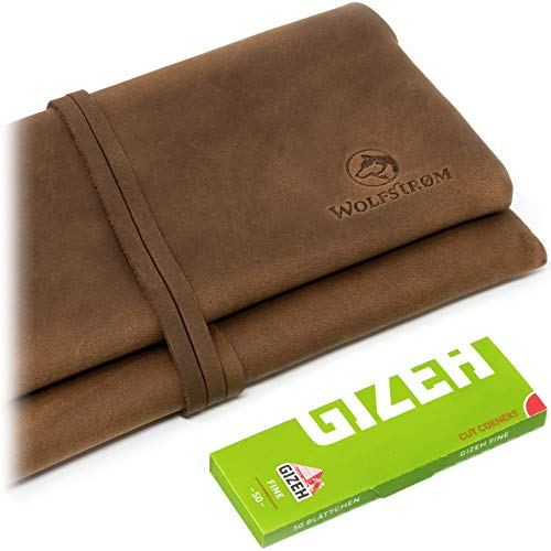 Tabakbeutel 'Bjørk' – Tabak-Tasche Leder, Set inkl. Gizeh Papers – Dreher-Tasche mit Blättchen-/ Filterfach & Lederband Rot/Orange – Swedish Brown