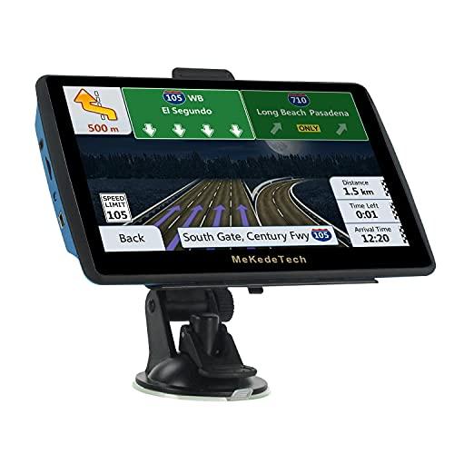 MekedeTech 7-Zoll-Touchscreen-Navi für Pkw-LKW Neuestes 8G 256M-Kartennavigationssystem mit Sprachübertragung und Radarkamerawarnung, lebenslanges kostenloses Karten-Update
