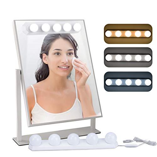 Luces para Espejo de Maquillaje LED Lámpara de Espejo Cosmético de Tocador con Estilo Hollywood 5 Piezas Bombillas EVILTO con USB Puerto, 3 Modos de Color, 10 Niveles de Brillo y 2 Potentes Ventosas