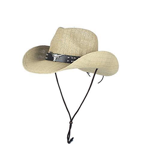 H.Y.BBYH Sombrero Sombrero de Paja Mujeres Hombres Hollow Western Cowboy Hat Summer Dad Lady Beach Panamá Jazz Sombrero for el Sol Tamaño 56-58 CM Gorra (Color : Natural, Size : 56-58)