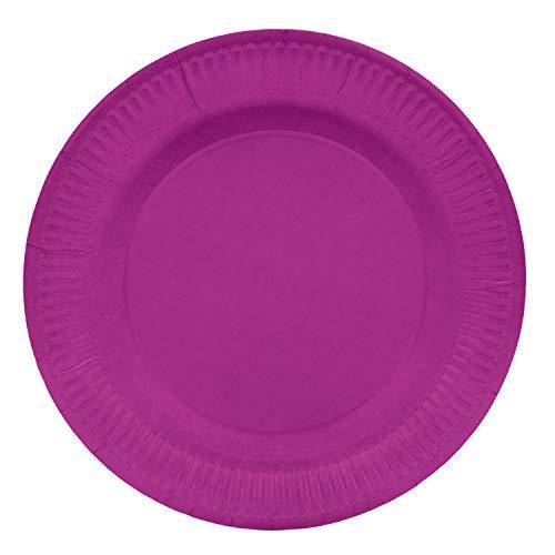 OKO LUTION OL455 Placa de cartón/Placa desechable, 20 Piezas, Redondo Ø 22,7 cm, Altura del Borde 2,7 cm, sin Revestimiento plástico, para Barbacoa, cumpleaños o Fiesta, Biodegradable, Rosa