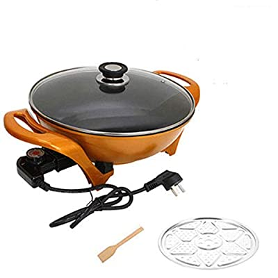 ZNSBH 1500W Multifunction Electric Wok Electric Skillet with Toughened Glass Cover and Steaming Tablets Stir Frying Pan Non-Stick Housewares Hot Pot, 5L, Orange
