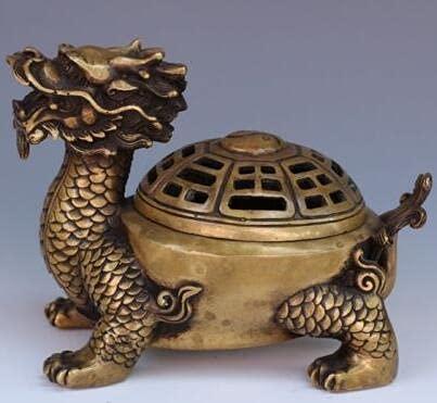 YANGYUE Exquisita Estatua de incensario de Quemador de Incienso de latón de Tortuga dragón Tallada a Mano China Antigua