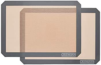 GRIDMANN Pro Silicone Baking Mat - Set of 2 Non-Stick Half Sheet  16-1/2  x 11-5/8   Food Safe Tray Pan Liners