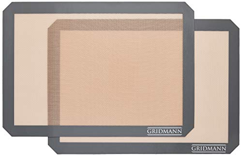GRIDMANN Pro Silicone Baking Mat - Set of 2 Non-Stick Half Sheet (16-1/2' x 11-5/8') Food Safe Tray Pan Liners