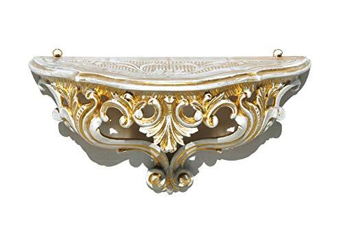 Ideacasa Mensola Consolle Oro Bianco Dorato Stile Barocco Luigi XVI Finto Vintage cm 20x38,5x15,5