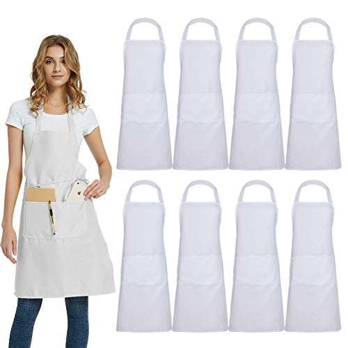 DUSKCOVE 8 Pack Bib Aprons Bulk - Unisex White Commercial Apron with 2 Pockets for Kitchen Crafting BBQ Drawing Cooking