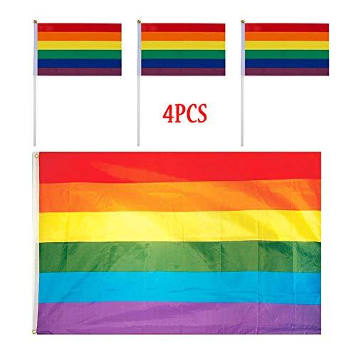 Rainbow Aufhängen Flagge Regenbogen Gay Lesben Flagge Parade Flaggen Lgbt Regenbogen Fahne Rainbow Polyester Flagge Regenbogen Flagge 150 x 90cm Und 10 x 15cm Für Festival Vielfalt Feiern 4 Pcs