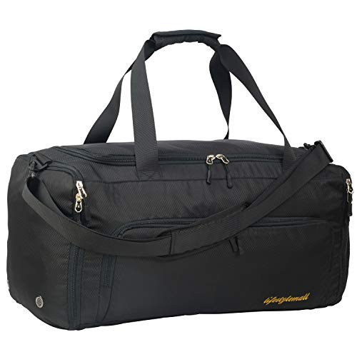 Gym Bag for Men and Women – Multipurpose Sports Bag with Shoe Compartment and Wet Pocket – Waterproof and Tear Resistant Duffle Bag – Modern Design – Ideal for Gym, Travel Airport (Black Foldable)
