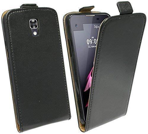 ENERGMiX Handytasche Flip Style kompatibel mit LG X-Screen (K500) in Schwarz Klapptasche Hülle Tasche Case Etui Schale Flip-Cover