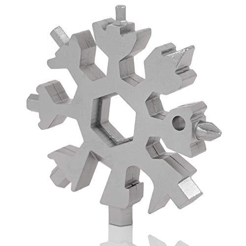 NOIR TOOLS® Multi-Tool Schneeflocke 18-in-1 Multifunktionswerkzeug mit Schraubendreher Flaschenöffner und vielem mehr Werkzeug aus Edelstahl Chrom Finish silbern 1er Pack