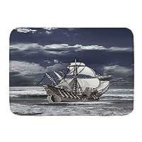 NINEHASA バスマット お風呂マット 曇り空カリブ海海賊船のアートイメージのようなオイルプリント バスマット 浴室 吸水 速乾 お風呂マット