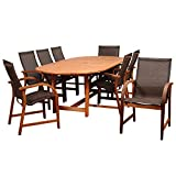 Amazonia Bahamas 9-Piece Patio Oval Dining Table Set | Eucalyptus Wood | Ideal for Outdoors and Indoors, Brown