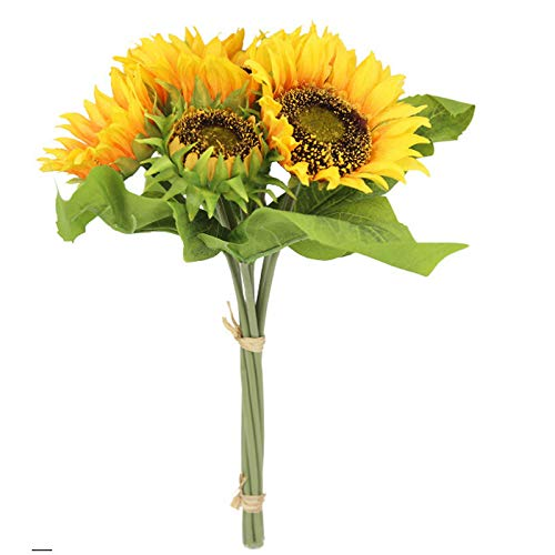 kgjsdf - Mazzo di girasole artificiale a 7 teste, lunghezza 13,8 cm, bouquet di fiori di girasole di seta, composizione floreale per casa, matrimonio, festa, scrivania
