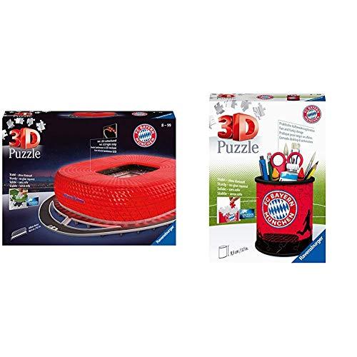 Ravensburger 3D Puzzle 12530 - Allianz Arena bei Nacht - 216 Teile & 3D Puzzle 11215 - Utensilo - FC Bayern München - 54 Teile