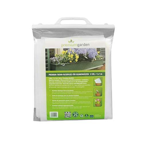 3er Pack Premium Blumenkastenvlies, 1m² (0,9 x 1,15m), 110g/m², Trennvlies/Filtervlies, Gärtnervlies für Blumentöpfe, Pflanzkübel und Blumenkästen, weiß