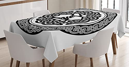 Ambesonne Celtic Tablecloth, Native Celtic Tree of Life Ireland Early Renaissance Modern Design, Rectangular Table Cover for Dining Room Kitchen Decor, 60' X 84', White and Black
