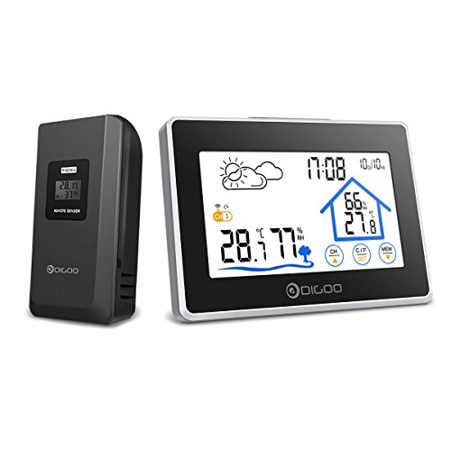 RFElettronica - Wetterstation DIGOO DG-TH8380 Außenthermometer Hygrometer mit Touchscreen, Außensensensor, Wettervorhersage, Wecker mit Snooze-Funktion für Zuhause, Schlafzimmer, Büro