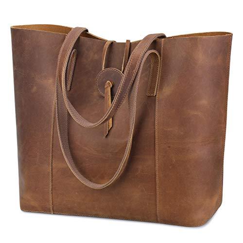 S-ZONE Vintage Genuine Leather Tote Bag for Women Large Shoulder Purse Handbag