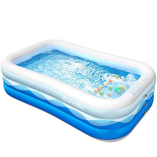 """Inflatable Swimming Pool Family Full-Sized Inflatable Pools 118"""" x 72"""" x 22"""" Thickened Family Lounge Pool for Toddlers, Kids & Adults Oversized Kiddie Pool Outdoor Blow Up Pool for Backyard, Garden"""