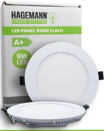 HAGEMANN® 1 x LED Panel Redondo 9 W 810 lm – Ø 135 mm agujero de perforación – Plano 230 V LED Spots Deckenleuchte