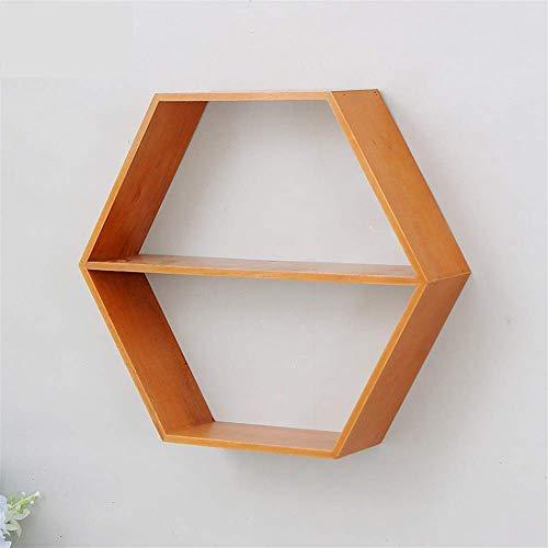 DGDF Estante de pared con marco hexagonal, estante de pared creativo de madera para sala de estar, dormitorio, baño, cocina