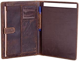 KomalC Leather Business Portfolio Folder Personal Organizer, Luxury Full Grain Leather Padfolio, Leather Folder