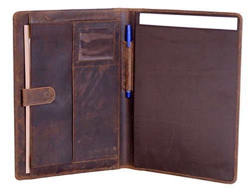 KomalC Leather Business Portfolio Folder Personal Organizer, Luxury Full Grain Leather Padfolio, Leather Folder (Buffalo Distressed Tan)