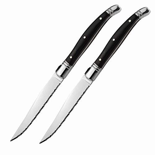 Juego de cuchillos de cocina 2 piezas de cuchillo de filete de alta calidad de estilo laguola de 9 pulgadas y mango de madera Cuchillo de cuchillo Cubiertos de cuchillería (Color : Black)
