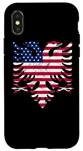 iPhone X/XS Albanian American Flag USA Albania Flag Eagle Case