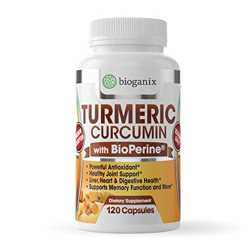 Turmeric Curcumin Supplement with BioPerine 1000mg (120 Capsules) | 2 Month Supply of All Natural Effective Joint Pain Relief & Anti Inflammatory | Vegan Pills Support Brain & Heart Health - Bioganix