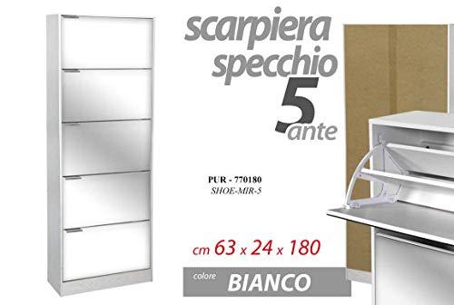 Gicos Mobile scarpiera Struttura in Legno 5 Ante Specchio Colore Bianco 63 * 24 * 180 cm PUR-770180